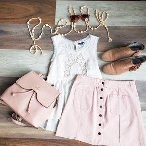 Pretty in pink button up skirt 🧁
